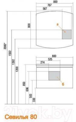Шкаф с зеркалом для ванной Акватон Севилья 80 (1A125502SE010)