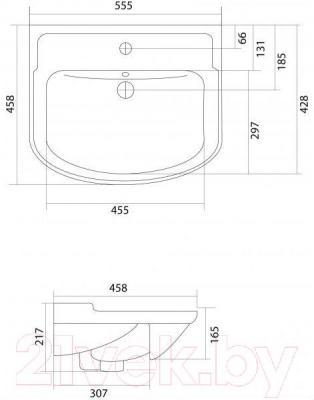Умывальник Акватон Classic 55B (1AX015WBXX000) - габаритные размеры