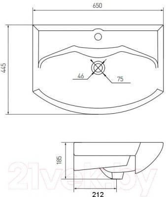 Умывальник Акватон Smile 65 (1WH207782) - схема