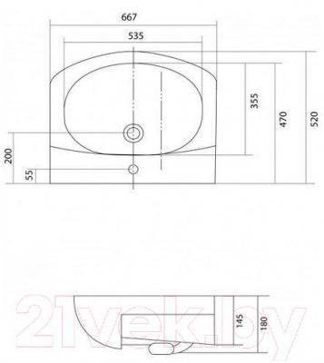 Умывальник накладной Акватон Аквамель 67 (1WH110213) - габаритные размеры