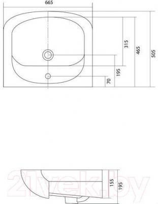 Умывальник Акватон Акваполо 6533 (1WH110162) - габаритные размеры
