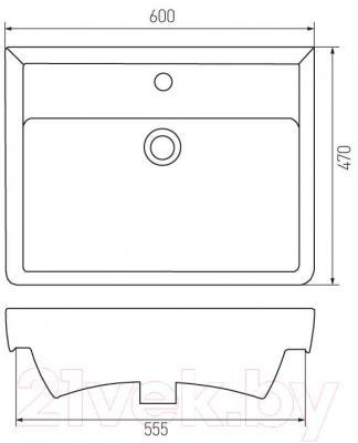 Умывальник Акватон Дрея 60 (1AX012WBXX000) - габаритные размеры