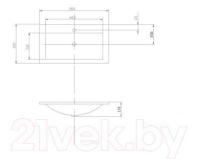 Умывальник Акватон Премьер М 800 (1A70493KPR010) - габаритные размеры
