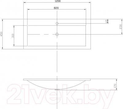 Умывальник Акватон Премьер М1200 (1A70483KPR010) - габаритные размеры