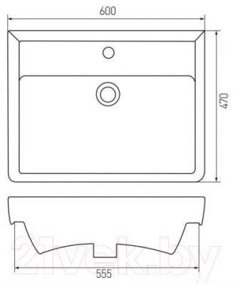Умывальник Акватон Тигода 60 (1WH302082) - габаритные размеры
