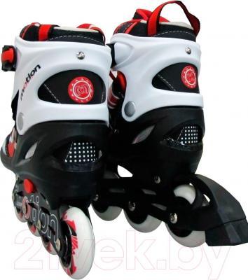 Роликовые коньки Motion Partner MP121S (S, красные) - вид пары сзади