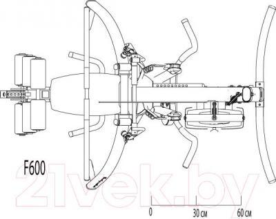 Силовой тренажер Body-Solid Fusion F600/2 - схема размеров тренажера (вид сверху)