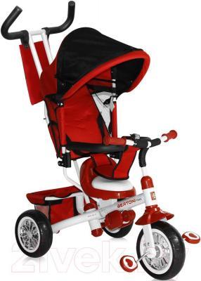 Детский велосипед с ручкой Lorelli B302A (красный/белый) - общий вид