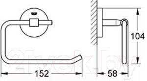 Держатель для туалетной бумаги GROHE Bau Cosmopolitan 40457000 - схема