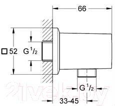 Подключение для душевого шланга GROHE Allure Brilliant 27707000 - габаритные размеры