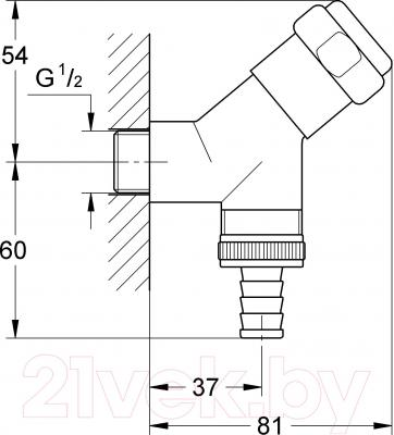 Вентиль угловой GROHE Eggemann Was 41010000 - технический чертеж