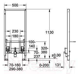 Инсталляция для биде GROHE Rapid SL 38553001 - габаритные размеры