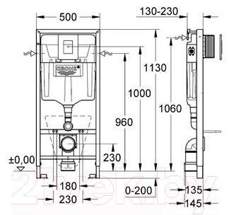 Инсталляция для унитаза GROHE Rapid SL 38827000 - габаритные размеры