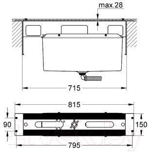 Встроенный механизм смесителя GROHE 29037000 - технический чертеж