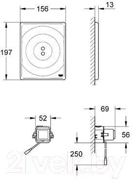 Кнопка для инсталляции GROHE Tectron Surf 38699000