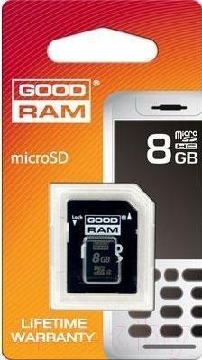 Карта памяти Goodram microSDHC 8Gb Class 4 + SD адаптер (SDU8GHCAGRR10) - общий вид