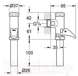 Смывное устройство для унитаза GROHE 37139000 - габаритные размеры