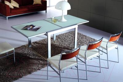 Обеденный стол Мебельные компоненты Line (черный) - стол белой расцветки в разложенном виде