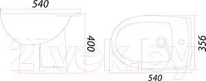 Биде напольное Colombo Акцент S12501100 - схематическое изображение