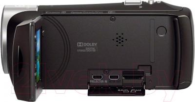 Видеокамера Sony HDR-PJ410B - вид сбоку и порты для подключения