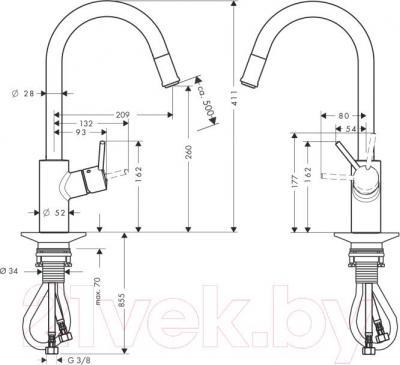 Смеситель Hansgrohe Talis S2 Variarc 14872000 - технический чертеж
