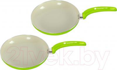 Набор кухонной посуды Polaris Rain 2024F (зелёный) - общий вид набора