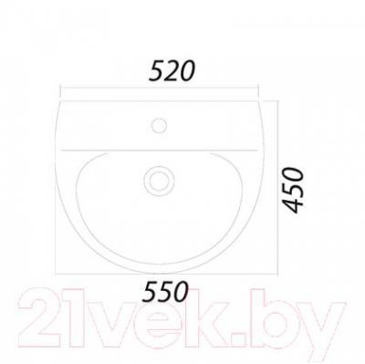 Умывальник настенный Colombo Лотос 55 S14115500 (с отверстием) - габаритные размеры