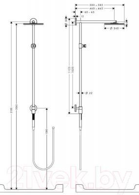 Душевая система Hansgrohe Raindance Connect 240 Showerpipe 27164000 - габаритные размеры