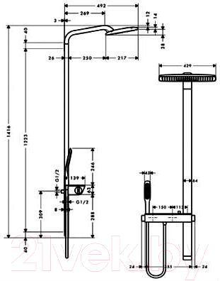 Душевая система Hansgrohe Raindance E Showerpipe 27149000 - габаритные размеры