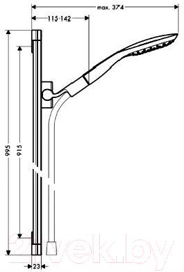 Душевой гарнитур Hansgrohe PuraVida 27853400 - габаритные размеры