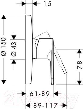 Смеситель Hansgrohe Talis E2 31666000 - технический чертеж
