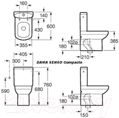 Унитаз напольный Roca Dama Senso Compacto A342519000 (только чаша)