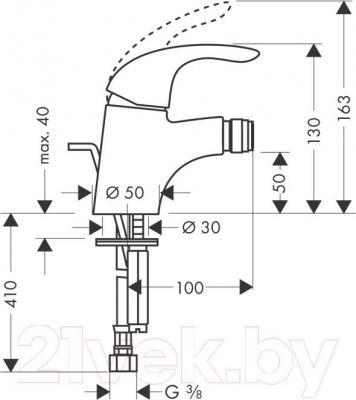 Смеситель Hansgrohe Focus E 31720000 - технический чертеж