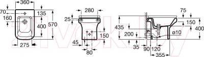 Биде напольное Roca Dama-N A357784000 - технический чертеж