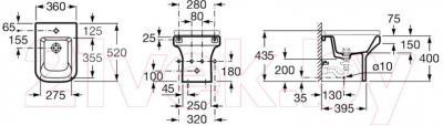 Биде напольное Roca Dama-N A35778700 - технический чертеж