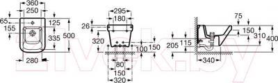 Биде подвесное Roca Dama-N A357786000 - технический чертеж