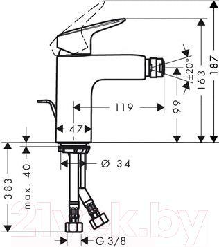 Смеситель Hansgrohe Logis 71200000 - технический чертеж