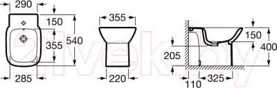 Биде напольное Roca Debba A355994000 - технический чертеж