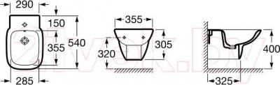 Биде подвесное Roca Debba A355995000 - технический чертеж