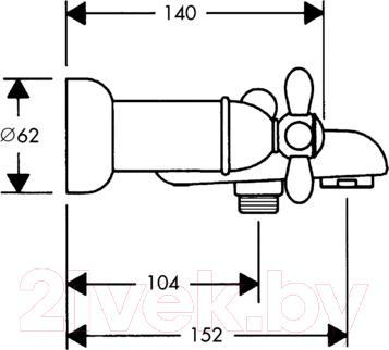 Смеситель Hansgrohe Carlton 17430090 - технический чертеж