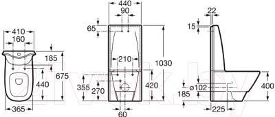 Унитаз приставной Roca Frontalis A342587000 (только чаша)
