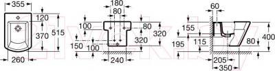 Биде подвесное Roca Hall А357625000 - технический чертеж