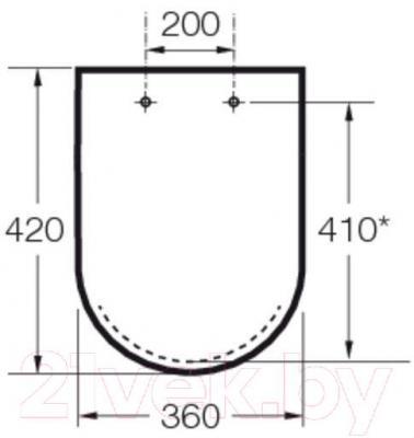Сиденье для унитаза Roca Hall А801620004 (белое) - габаритные размеры
