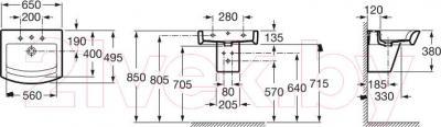 Умывальник настенный Roca Hall 65x49.5 (А32762100)