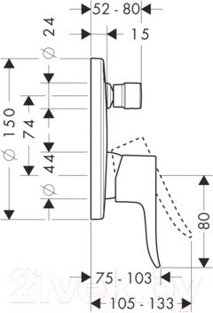 Смеситель Hansgrohe Metris 31493000 - технический чертеж