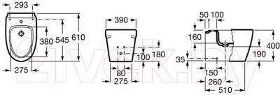 Биде напольное Roca Khroma A357657000 - технический чертеж