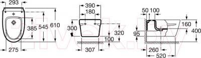 Биде подвесное Roca Khroma А357655000 - технический чертеж