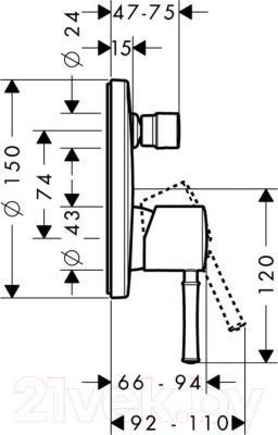 Смеситель Hansgrohe Talis Classic 14145000 - технический чертеж