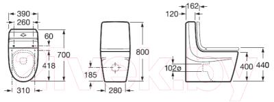 Унитаз напольный Roca Khroma А342657000 (только чаша)