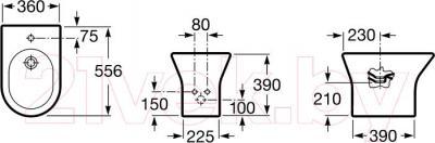 Биде напольное Roca Nexo А357640000 - технический чертеж